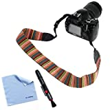BIRUGEAR Soft Multi-Color Classic Camera shoulder/Neck Strap Belt + Lens Pen + Cleaning Cloth for Canon 70D,100D, 700D, 650D, 600D, 550D, 500D, 350D, 1100D, 60D, 60Da, 6D, SX510 HS, SX500 IS, SX50 HS, G15 ; Nikon Df COOLPIX P7800 P600 P530 D7100 D5300 D5