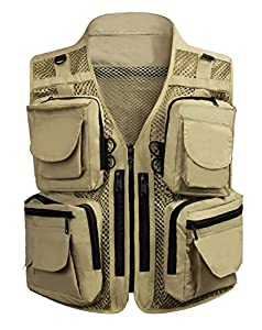 Men's 17 Pockets Mesh Water Resistant Fishing Photography Vest