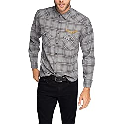 ESPRIT Herren Regular Fit Freizeit Hemd Kariert, Gr. XXX-Large, Grau (MEDIUM GREY 035)