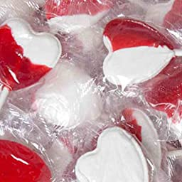 Strawberry and Cream Red and White Heart Lollipops 40 Count