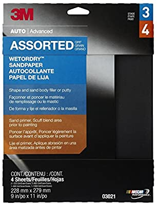 """3M Wetordry 9"""" x 11"""" Sandpaper Sheet with Assorted Grit Sizes by 3M"""