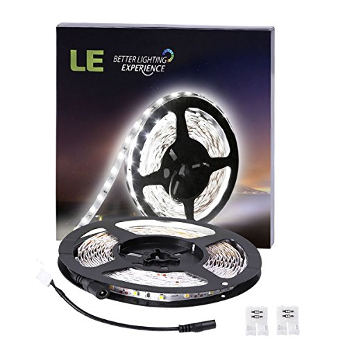 LE 16.4ft LED Flexible Strip Lights, 300 Units SMD 3528 LEDs, 12V DC Non-waterproof, Light Strips, LED ribbon, For Garden/Home/Kitchen/Car/Bar, DIY Party Christmas Decoration Lighting (Daylight White) (Radiation Strip compare prices)