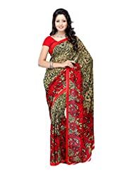 Ethnic Wear Red Heavy Renial Printed Saree