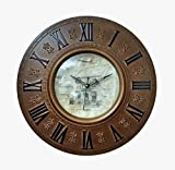Steven Quartz Designer Wall Clock 1425 Round Shaped (Dark RUST) and one KIDs watch Free