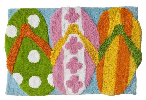 Hanging Loose Collection Flip Flop Bath Mat Rug-100% Cotton-20″ x 30″