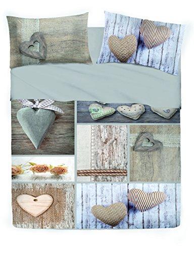 Copripiumino Matrimoniale Stone - Cuori Cuore - (2 piazze) Parure copripiumini con federe - Moderno e Chic - Vesti la tua camera da letto con stile