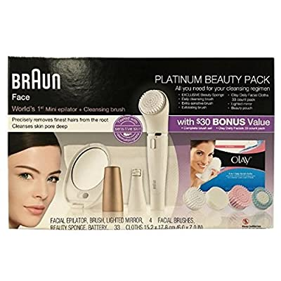 Braun Face Platinum Beauty Pack, 1 Facial Epilator, Beauty Sponge, 4 Facial Brushes, Lighted Mirror, and Battery - BONUS 33 Olay Daily Facial Cloths