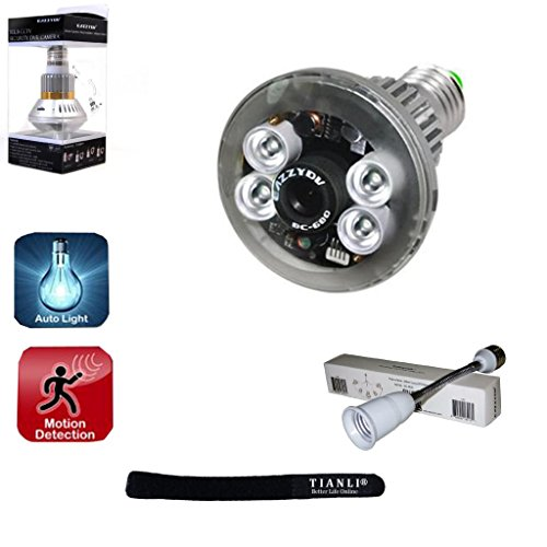 Tianli(Tm) Eazzydv Bc-689 Four Real Led Lights Bulb Dvr Hidden Safety Security Survilliance Spy Camera Backup 1.5Hr Auto Control Light Recording Motion Dection Night Vision Circular Storage 3.6Mm Len/E27 Base,With Tianli Computer Cable Tie Gift