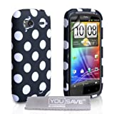 HTC Sensation / Sensation XE Stylish Polka Dot Silicone Gel Patterned Case Cover And With Screen Protector Film Black White Spotsby Yousave Accessories