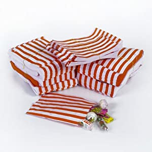 """50x Red Candy Stripe Sweet/Gift Paper Bags - 10"""" x 14"""""""