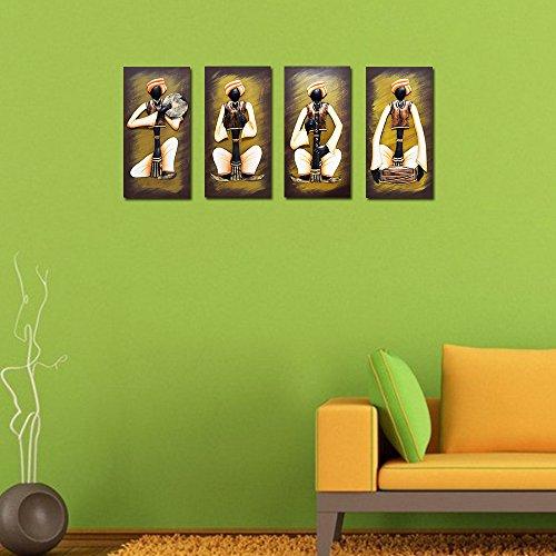 Wrought Iron Adivasi Sitting Pad Musician Set Of 4 On Wooden Board 20x40cm WR-ASPM8-2000