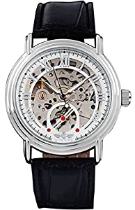 Fanmis Men's Automatic Mechanical Watches White Dial Black Leather Strap Watch
