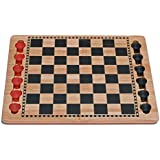 Solid Wood Checkers Set - Red & Black Traditional Style with Grooves for Wooden Pieces