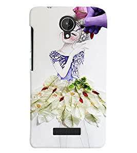 Fuson Paint Girl Back Case Cover for MICROMAX CANVAS SPARK Q380 - D4060