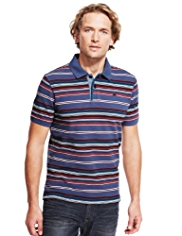 North Coast Pure Cotton Multi-Striped Piqué Polo Shirt