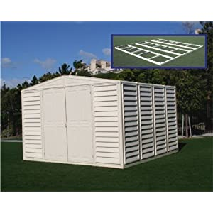 Click to buy DuraMax Model 10x10 WoodBridge Vinyl Storage Shed with foundation from Amazon!