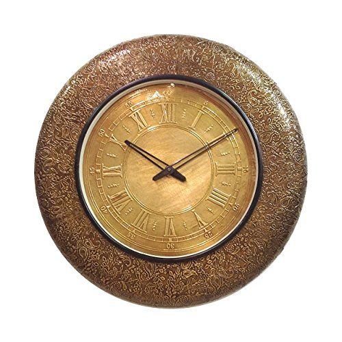 Lifestyle HANDCRAFTED WOODEN CLOCK WITH BRASS FITTING AND BRASS DIAL
