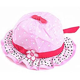 Dealzip Inc® Cute Wide Brim Ultraviolet Protection Polka Dots and Heart-shaped with One Flower Bowtie Hat for Baby Kids Girls - Pink