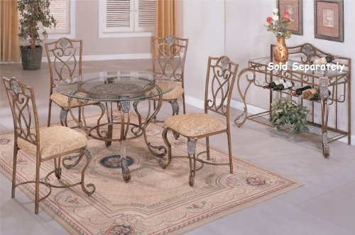 Cheap 5 PC. Set 8mm Beveled Glass Top Metal Legs Table and High Metal Back Fabric Seat Chairs (F2045)