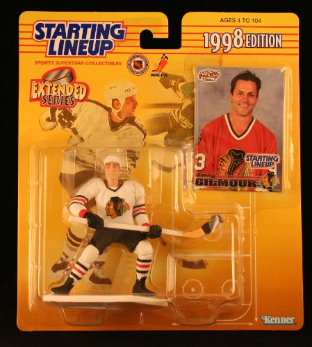 DOUG GILMOUR / CHICAGO BLACKHAWKS 1998 Extended Series NHL Starting Lineup Action Figure & Exclusive Pacific NHL Collector Trading Card