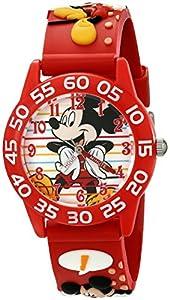 Disney Kids' W001516 Disney Mickey Mouse 3D Plastic Watch, Red 3D Plastic Strap, W001516 Analog Display Analog Quartz Red Watch