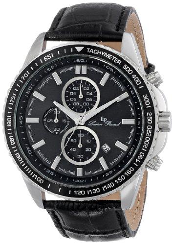 Lucien Piccard Cartagena del hombre 48mm cronógrafo piel auténtica carcasa banda de acero cuarzo reloj 12552-01-BK
