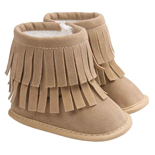 Voberry Baby Toddler Girls Boys Winter Warm Snow Boot Tassels Trimmed Boots Outdoor (6~12Month, light Khaki)
