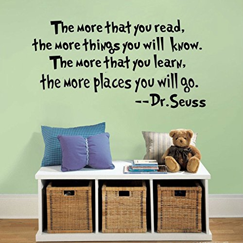 SWORNA Baby Nursery Series Dr. Seuss The More That You Read Vinyl Kids Wall Art Decals, Matte Black, 4X24-Inch