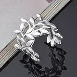 Skyllc® Fashion Girl Plata Europea joyería plateada Flor Hoja moldea anillos