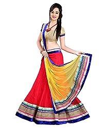 Krishna Enterprise Women's Pink And Yellow Coloured FencyLehenga