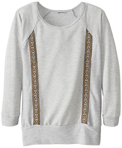 LAmade Big Girls' Tunic with Embroidered Trim, Heather, 10