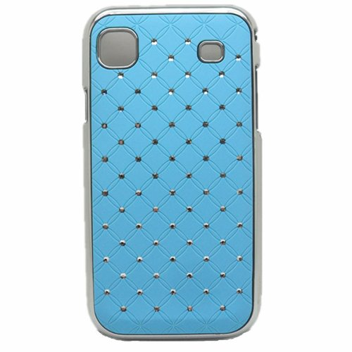 "Light Blue - Electroplating Stars Bling Hard Case Cover Skin For Samsung Galaxy S1 I9000 Black Case(Package Includes: 1 X Screen Protector And 1X Stylus Pen Image""Catgift_Store"") front-66487"