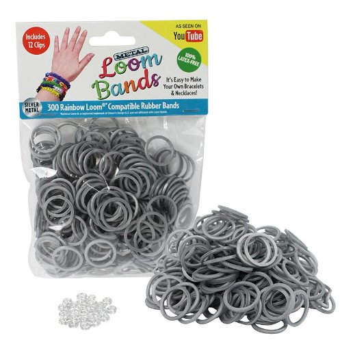 Loom Rubber Bands - 300 Metallic Silver Silicone Rubber Band Refill Pack with Clips - Latex Free