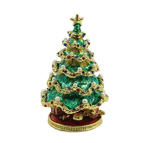 Christmas Tree Enameled Jeweled Box with In-laid Crystals