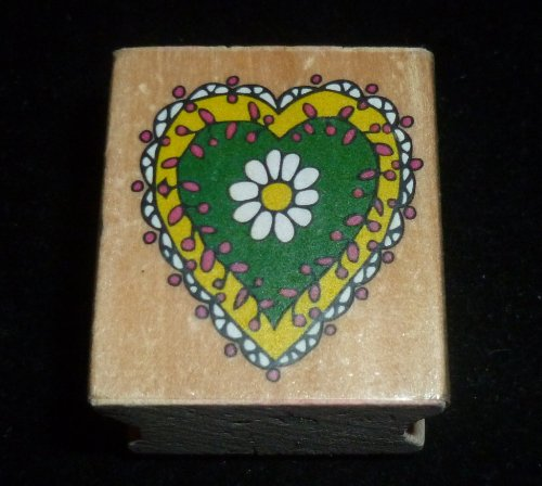 Decorative Heart Rubber Stamp - 1