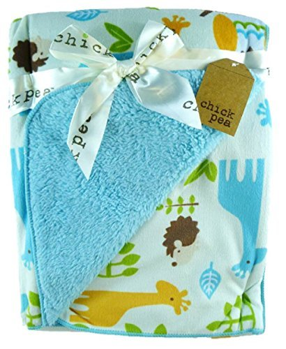 "Super soft 30"" x 40"" 2-sided Fleece Baby Blanket (Turquoise - Animals)"