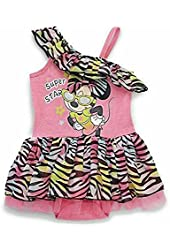 Disney Girls Minnie Mouse One Piece Skirted Bodysuit