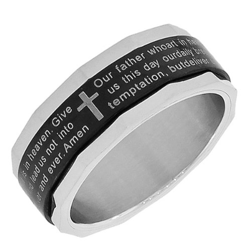 Stainless Steel Black Silver Two-Tone Lord'S Our Father Prayer In English Religious Latin Cross Mens Womens Ring (11)