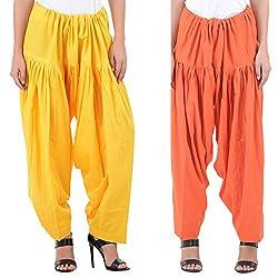 Numbrave Women's Yellow-Orange Cotton Full Patiala Salwar (Combo of 2)