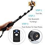 Selfie Stick, Pro 2-In-1 Selfie Stick Heavy Duty Pole Monopod for GoPro Hero 1 2 3 3+ 4,Camera and iPhone Samsung Sony HTC with Bluetooth Remote Control and GoPro Mount