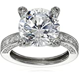 "Platinum Plated Sterling Silver ""100 Facets Collection"" Solitaire Cubic Zirconia Ring with Channel-Set Cubic Zirconia Accent (6 cttw)"
