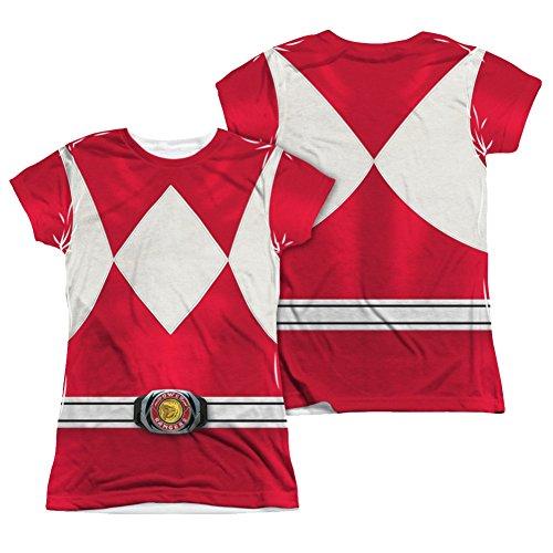 Power Rangers Red Ranger Costume Junior Fit Front/Back T-Shirt