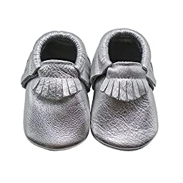 Mejale Baby Moccasin Soft Soled Leather Silver Tassels Slip-on Infant Toddler Baby Shoes First Walker