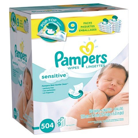 Pampers Baby Wipes Sensitive 9x 504 Count, 11.129 Pound