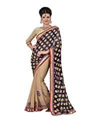 Indian Women Chiffon And Jacquard Silk Resham And Patch Work Saree With Unstitched Blouse Piece (Violet And Chickoo...