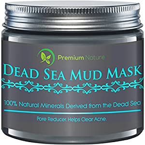 Dead Sea Mud Mask 8 oz, Melts Cellulite, Treats Acne and Problem Skin, Also Acts as Pore Minimizer and Wrinkle Reducer, By Premium Nature