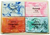 ATTIS Natural Handmade Marble Soaps Selection Gift Set of 4 (set1) Vegan with Coconut Oil, Shea Butter, Cocoa Butter & Aloe Vera gel