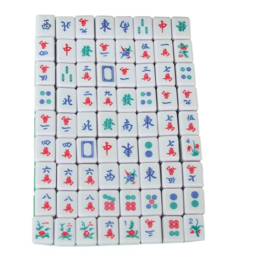 Mini 144 Mahjong Tile Set Travel Board Game Chinese Traditional Mahjong Games, Portable Size and Light-weight - 1