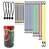 """Best Choice 24-Piece Premium Bungee Cord Assortment in Storage Jar - Includes 10"""", 18"""", 24"""", 32"""", 40"""" Bungee Cords and 8"""" Canopy/Tarp Ball Ties"""