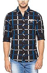 SPYKAR Men Cotton Blue Casual Shirt (Large)